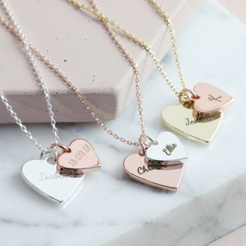 Personalised Double Wide Heart Charm Necklace