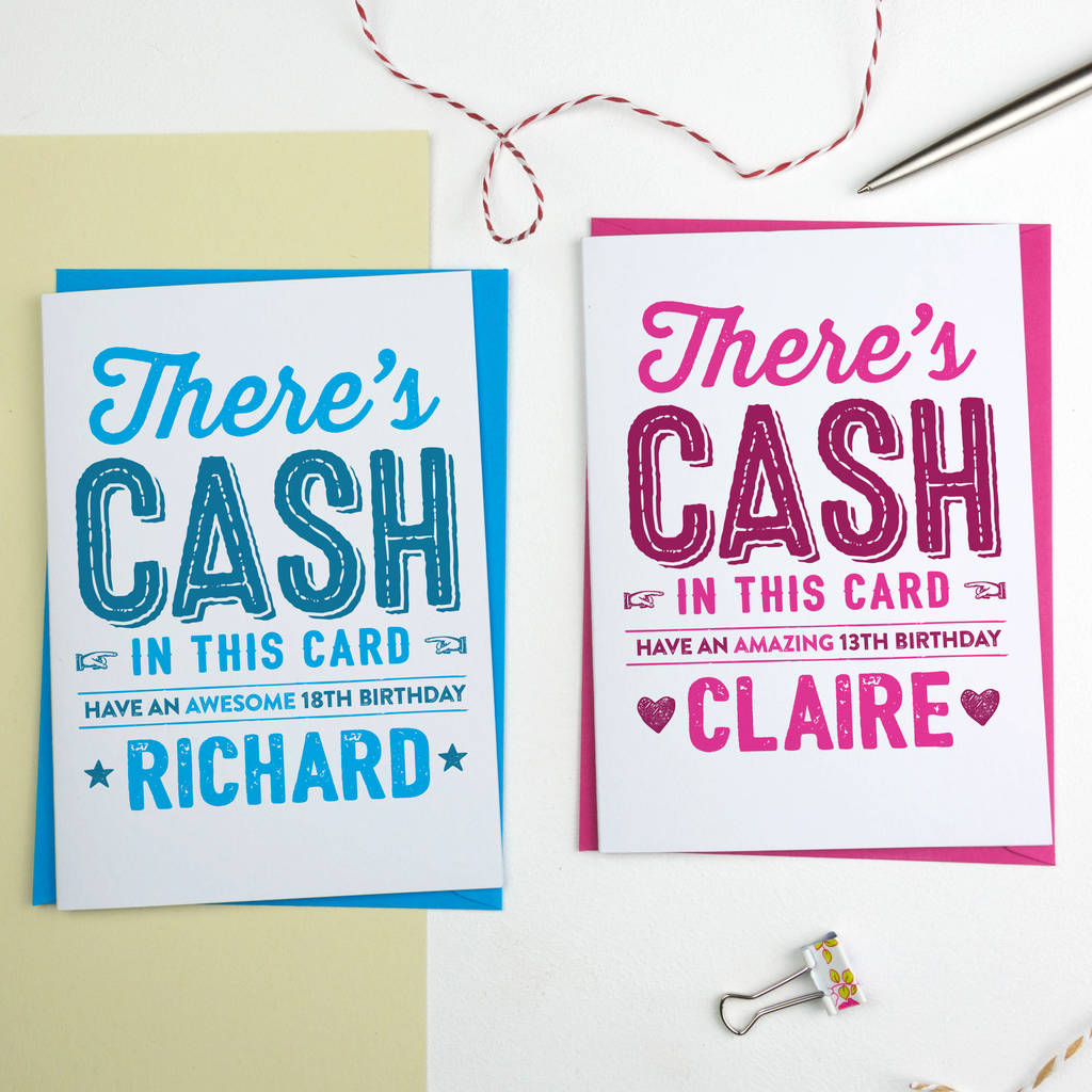Personalised Birthday Card Cash