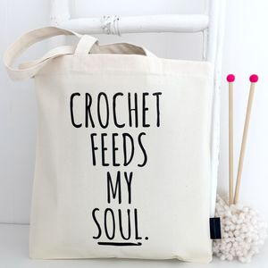 Crochet Feeds My Soul Crochet Project Bag - new in fashion