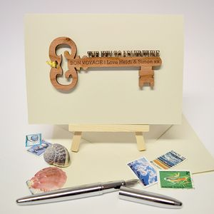 Personalised 'Key To Adventure' Keepsake Card - leaving cards