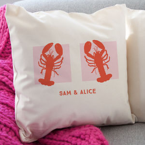 Personalised Lobster Cushion - 2nd anniversary: cotton