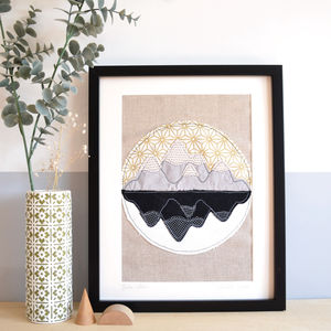 Mountain Reflections Embroidery Artwork - mixed media & collage