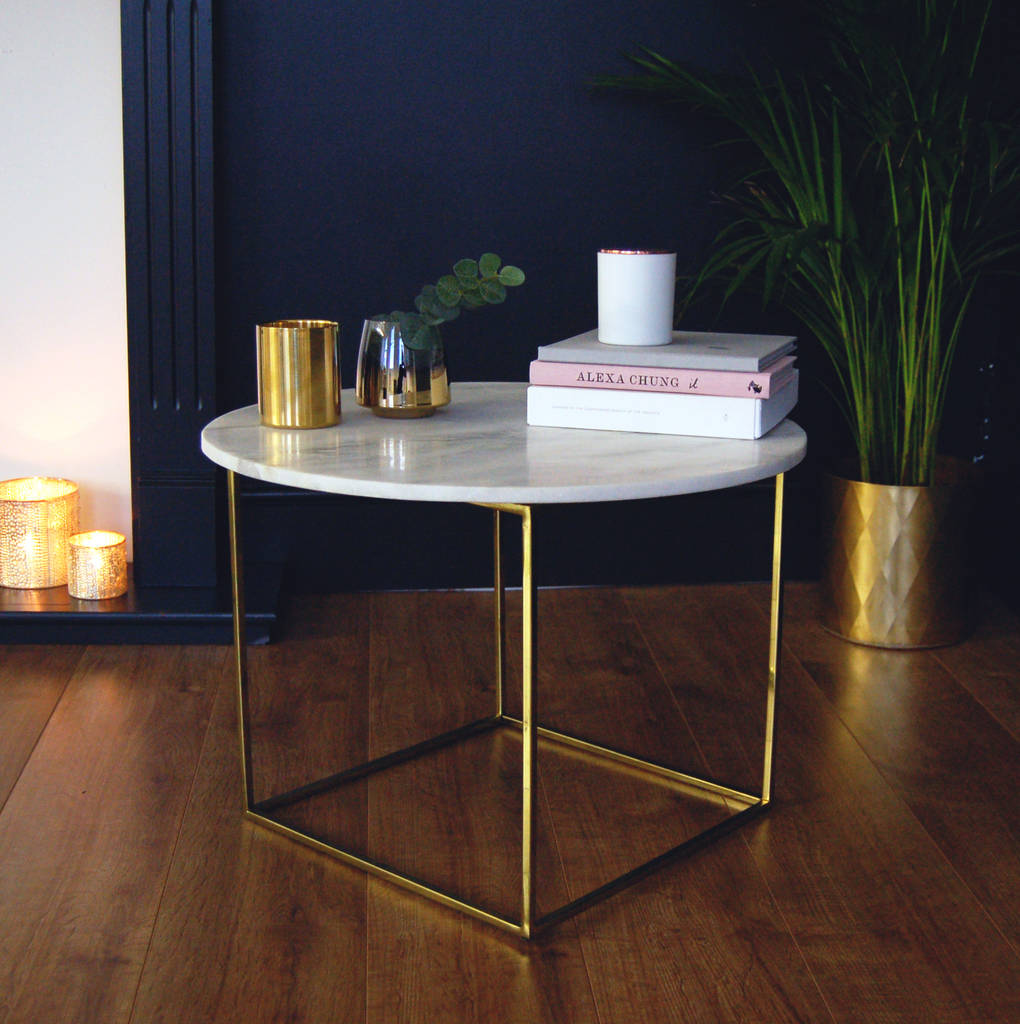 Lorenz Round Marble Coffee Table: Gold And Marble Round Coffee Table Side Table By Made With