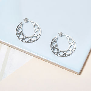 Silver Brilliant Diamond Hoop Earrings - earrings