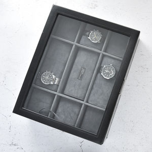 Mens Black 15pc Watch Box - watch storage