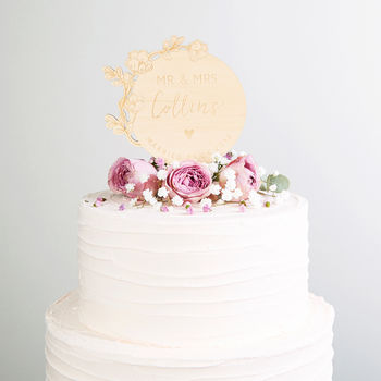 Wedding Cake Topper Wooden Floral