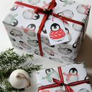 Cute Penguin Gift Wrap With Tags