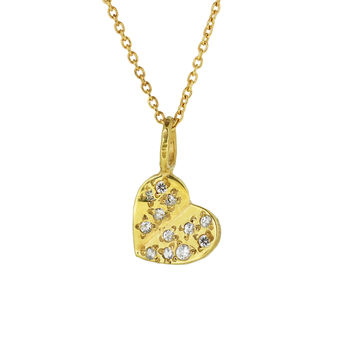 Flutter Heart Necklace With White Sapphires
