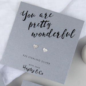 'You Are Pretty Wonderful' Silver Heart Earrings