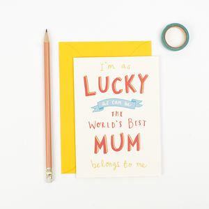 'Lucky Mum' Mothers Day Card - mother's day cards