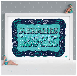 Mermaids Rock Print - pictures & prints for children