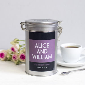 Personalised Couples Coffee Gift Tin - 10th anniversary: tin