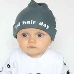 Bad Hair Day Charcoal Baby Hat With White Slogan