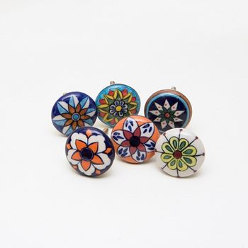 Set Of Six Morish Ceramic Charm Knobs