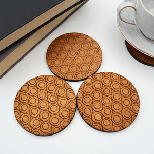 Wooden Drinks Coasters With Circles Design, Set Of Four