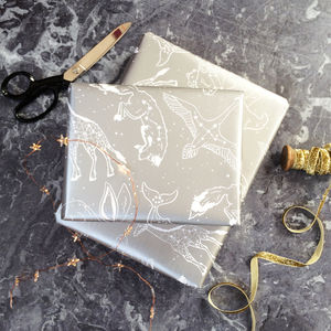 Silver Animal Star Constellations Wrapping Paper Set - gift wrap sets