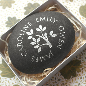 Metallic Family Tree Mothers Day Pebble