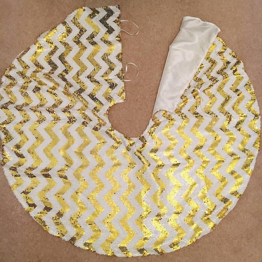 Gold Chevron Sequin Christmas Tree Skirt