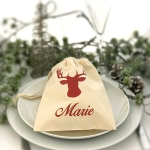 Personalised Mini Christmas Stag Bag - stockings & sacks