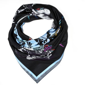 Hand Drawn Black Parrot Explorer Scarf - hats, scarves & gloves