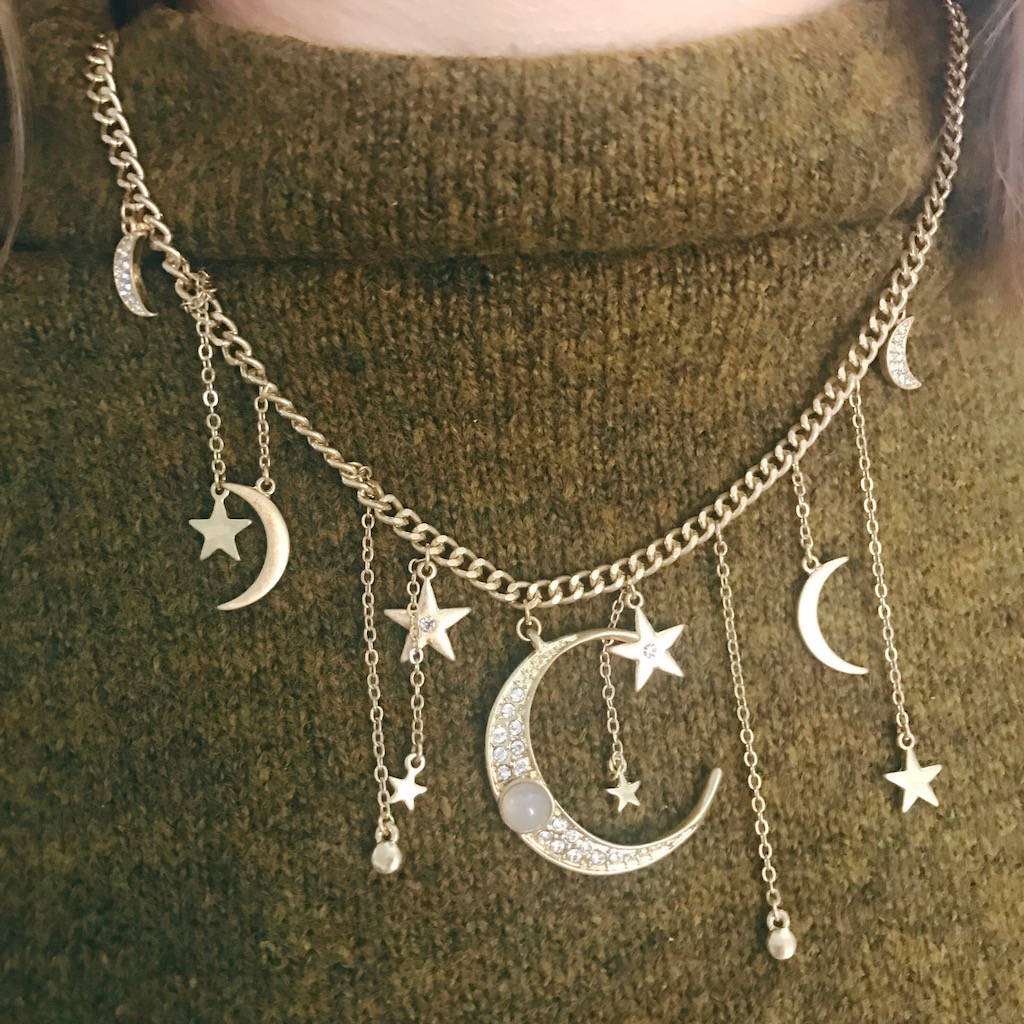 Moon And Stars Multi Charm Necklace