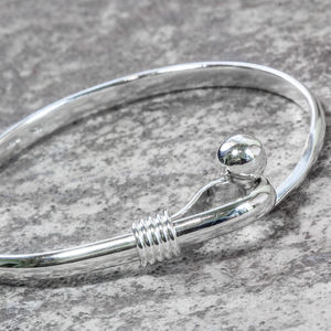 Sterling Silver Ball Hook Bangle - bracelets & bangles