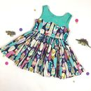 Girls Feather And Gold Print Party Dress