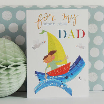 Boat Dad Greetings Card