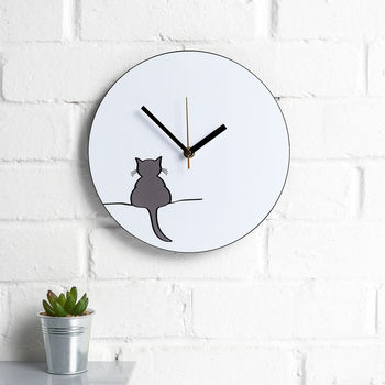 Crouching Cat Wall Clock