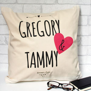 Personalised Forever In Love Cushion - living room