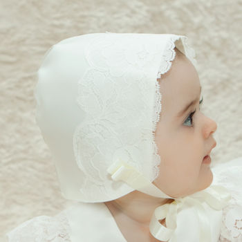 Holly Duchess Satin And Lace Christening Bonnet