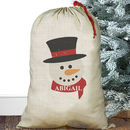 Personalised Christmas Sack Snowman