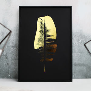 Metallic Banana Leaf Botanic Print - nature & landscape