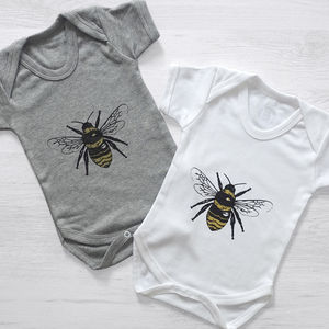 Gold Bumble Bee Baby Grow