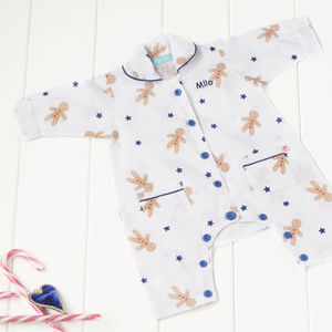 Personalised Organic Gingerbread Romper - baby's first christmas