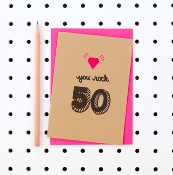 'You Rock 50' 50th Birthday Card