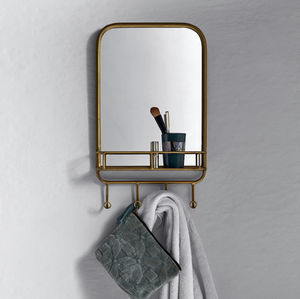 Gold Metal Mirror With Rack - home accessories