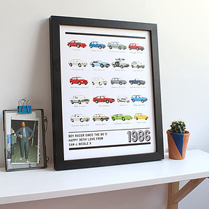 30th Birthday 1980's Cars Personalised Print - 30th birthday gifts