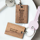 Personalised Wood Keyring Day You Were Born