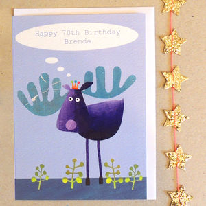 Personalised Moose Birthday Card