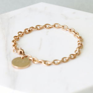 Rose Gold Chain Bracelet With Round Tag - winter sale