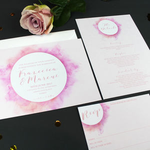 Watercolour Ink Spill Wedding Invitation