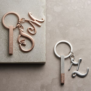 Bar Keyring With Initial Charm - summer sale
