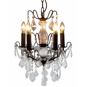 Antique Bronze Five Light Crystal Effect Chandelier