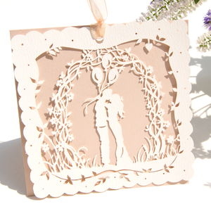 Boho Bride Nude Laser Cut Wedding Card