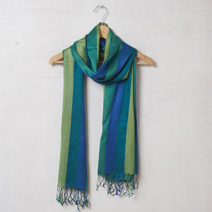 Pure Pashmina Wool Shawl With Blue And Green Stripes - scarves