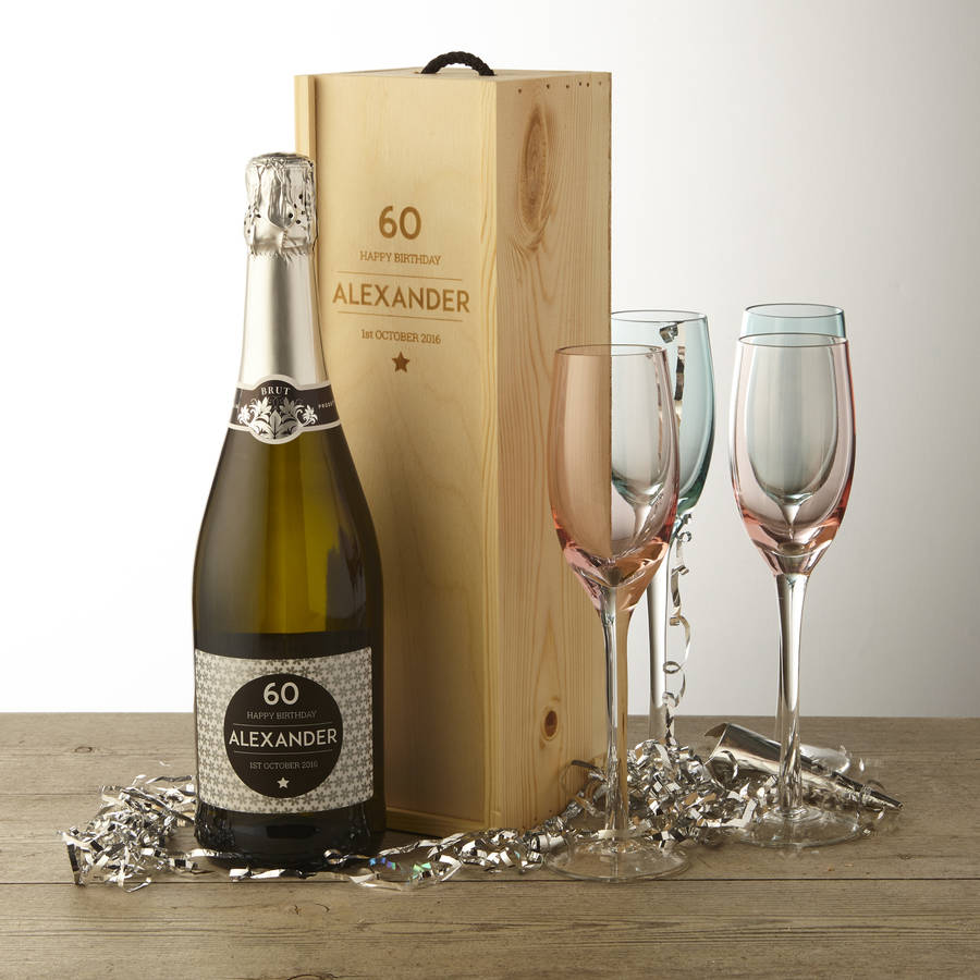60th Birthday Personalised Prosecco And Wooden Gift Box