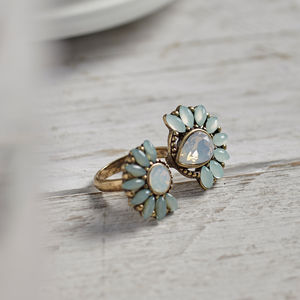 Double White And Mint Gem Ring - rings