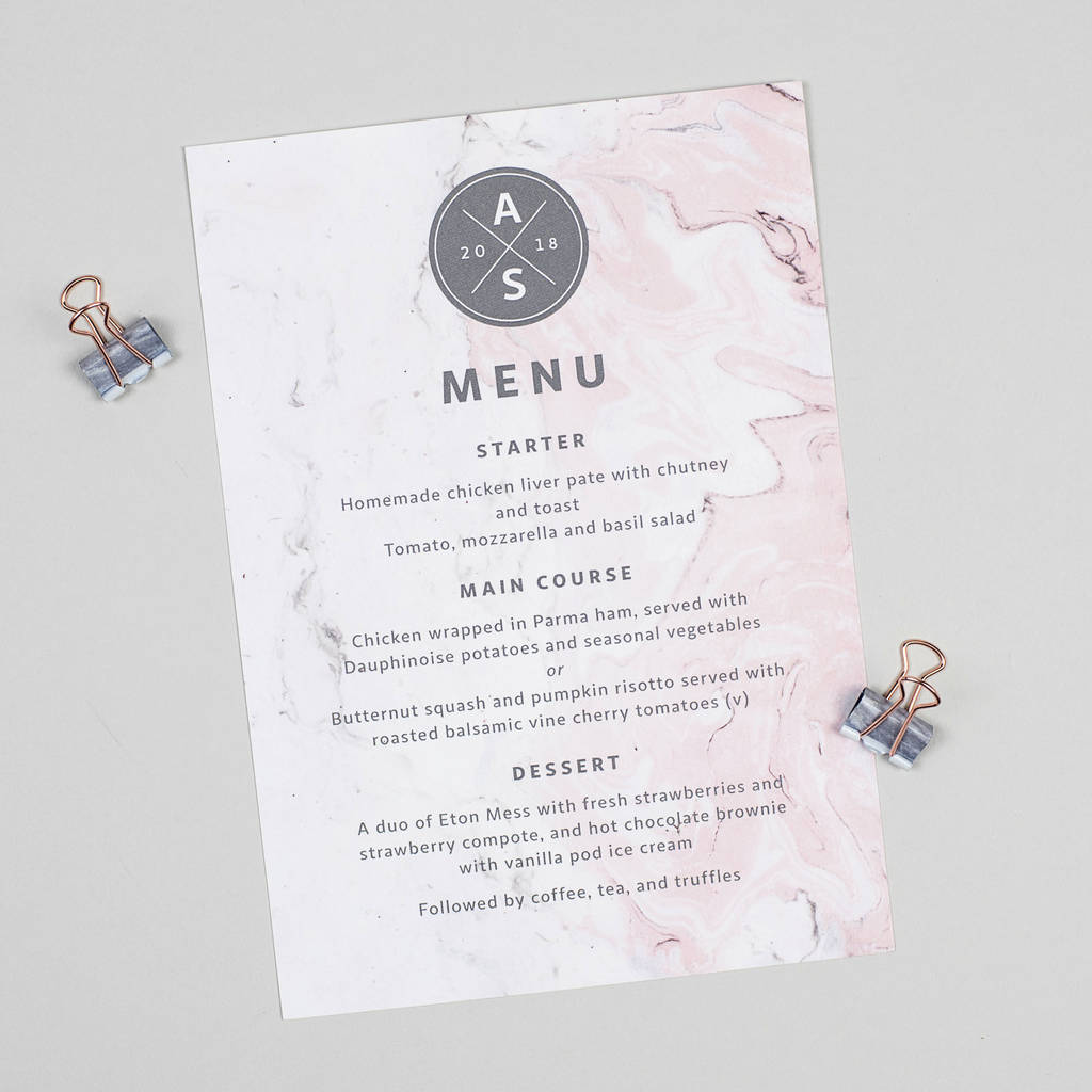 Pink And Grey Marble Wedding Menu Cards