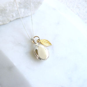 Silver Pebble Locket With Gold Leaf Necklace